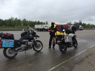 roadside stop, stretch and get the blood flowing, wet, wet, wet